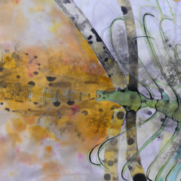 "Serie ""El agua. I"" medidas 0,94m x 0,58m. Detalle. Técnica: Tinta, anilina, acuarela."