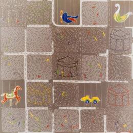 Idas y vueltas I - 1999 – Acrílico sobre tela. 1m x 1m