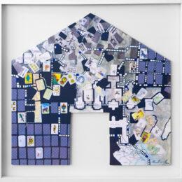 Volver a casa II - 2008 – Objeto, collage, acrílico sobre madera - 0,90m x 0,90m
